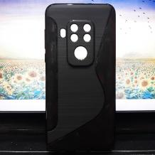 Луксозен силиконов калъф / гръб / TPU S - Line за Motorola One Zoom - черен / Carbon