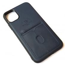 "Луксозен кожен гръб Santa Barbara Polo & Racquet Club за Apple iPhone 11 6.1"" - тъмно син / слот за карти"