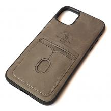 "Луксозен кожен гръб Santa Barbara Polo & Racquet Club за Apple iPhone 11 6.1"" - кафяв / слот за карти"