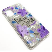 Силиконов калъф / гръб / TPU за Samsung Galaxy Note 10 Lite / A81 - сребрист брокат / лилави цветя / Put on Love