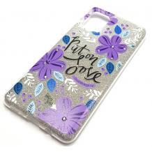 Силиконов калъф / гръб / TPU за Samsung Galaxy A51 - сребрист брокат / лилави цветя / Put on Love