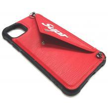 Луксозен силиконов гръб с джоб за Apple iPhone 6 / iPhone 7 / iPhone 8 / iPhone SE2 2020 - червен / Supr