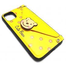 Луксозен силиконов гръб с джоб за Apple iPhone 6 / iPhone 7 / iPhone 8 / iPhone SE2 2020 - жълт / Cute Bear