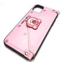 Луксозен силиконов гръб с джоб за Apple iPhone 6 / iPhone 7 / iPhone 8 / iPhone SE2 2020 - розов / Pink Bear