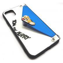 Луксозен силиконов гръб с джоб за Apple iPhone 6 / iPhone 7 / iPhone 8 / iPhone SE2 2020 - бяло и синьо / Tom & Jerry