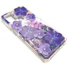 Луксозен гръб 3D Water Case за Samsung Galaxy A21s - течен гръб с розов брокат / прозрачен с розови цветя