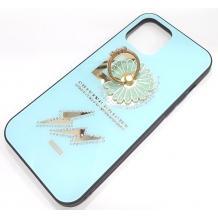 Луксозен стъклен твърд гръб със стойка за Apple iPhone 12 /12 Pro 6.1'' – светло син / цвете и камъни