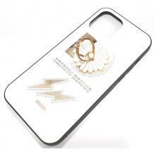 """Луксозен стъклен твърд гръб със стойка за Apple iPhone 12 Pro Max 6.7"""" –  бял / цвете и камъни"""