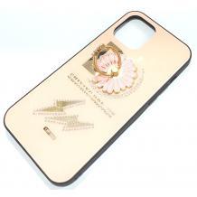 """Луксозен стъклен твърд гръб със стойка за Apple iPhone 12 Pro Max 6.7"""" –  бежов / цвете и камъни"""