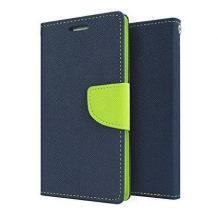 Луксозен кожен калъф Flip тефтер със стойка MERCURY Fancy Diary за Lenovo Moto G5 Plus - тъмно син със зелено