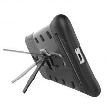 Силиконов гръб TPU Hybrid Armor с твърда част и стойка за Lenvo Vibe K5 Note A7020 - черен / тъмно сив