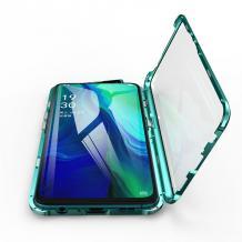 Магнитен калъф Bumper Case 360° FULL за Samsung Galaxy A10/M10 - прозрачен / зелена рамка