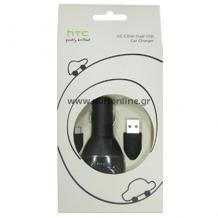 Зарядно за кола и кабел microUSB HTC CC C300 Dual USB