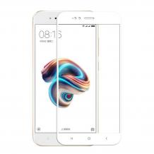3D full cover Tempered glass screen protector Xiaomi Mi A1 / 5X / Извит стъклен скрийн протектор Xiaomi Mi A1 / 5X - бял