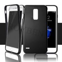 Tвърд гръб 360° със силиконова част за LG K8 2017 - прозрачно и черно / черен кант / лице и гръб