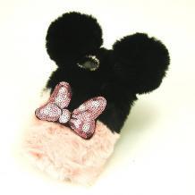 Силиконов калъф / гръб / TPU 3D за Xiaomi Redmi 4X - черно и розово / Minnie Mouse