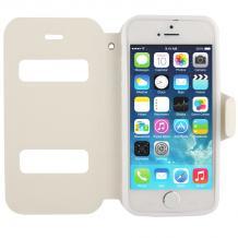 Кожен калъф Flip тефтер S-view със стойка за Apple iPhone 5 / 5S / iPhone SE- бял / Flexi