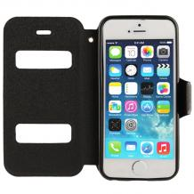 Кожен калъф Flip тефтер S-view със стойка за Apple iPhone 5 / 5S /  iPhone SE- черен / Flex