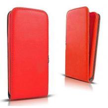 Кожен калъф Flip тефтер Flexi със силиконов гръб за Lenovo A859 - червен