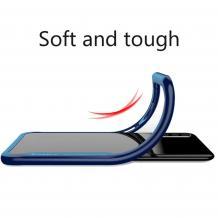 Луксозен твърд гръб IPAKY за Samsung Galaxy A6 Plus 2018 - прозрачен / силиконов син кант