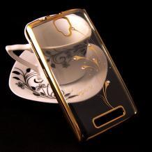 Луксозен силиконов калъф / гръб / TPU / Elegant с камъни за Lenovo A1000 - прочзрачен със златист кант / перо