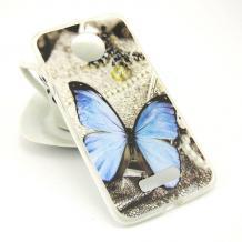 Силиконов калъф / гръб / TPU за Lenovo Moto Z - сив / синя пеперуда