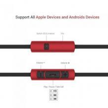 Оригинални стерео слушалки / Remax RM-610D Premium In-Ear Headphones with Mic - черни с червено