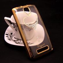 Луксозен силиконов калъф / гръб / TPU / Elegant с камъни за Lenovo A1000 - прозрачен със златист кант / сърце