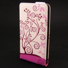 Кожен калъф Flip тефтер Flexi за Lenovo K920 Vibe Z2 Pro - бяло и розово / Floral