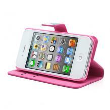 Кожен калъф Flip тефтер със стойка за Apple iPhone 4 / iPhone 4S - лотос