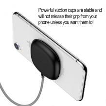 Оригинално универсално зарядно за безжично захранване BASEUS Suction Cup / Fast Wireless Charger Qi - черно