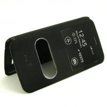 Кожен калъф Flip тефтер S-View със стойка за LG K8 2017 - черен / Flexi