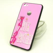 Луксозен твърд гръб със силиконов кант и камъни за Xiaomi Redmi 4X - светло розов / The Pink Panther