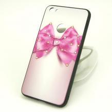 Луксозен твърд гръб със силиконов кант и камъни за Xiaomi Redmi 4X - розов с панделка