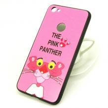 Луксозен твърд гръб със силиконов кант и камъни за Xiaomi Redmi 4X - тъмно розов / The Pink Panther