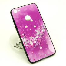 Луксозен твърд гръб със силиконов кант и камъни за Xiaomi Redmi 4X - лилав с цветя