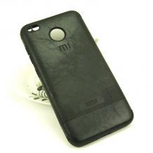 Луксозен силиконов калъф / гръб / TPU за Xiaomi RedMi 4X - черен / кожа