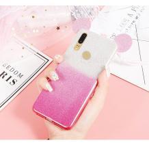 Луксозен силиконов калъф / гръб / TPU 3D за Huawei Y7 2019 - преливащ / розово и сиво / брокат / миши ушички / 2в1