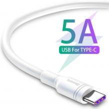 Оригинален USB кабел BASEUS Double Ring Quick Charge за зареждане и пренос на данни / Type-C - бял / 2м