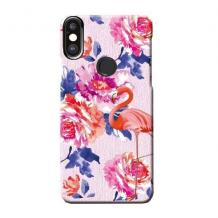 Силиконов калъф / гръб / TPU LUXO за Huawei Y6 2019 - цветя / розово фламинго