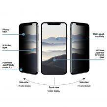 Privacy 3D full cover Tempered glass screen protector Apple iPhone X / iPhone XS / Privacy Извит стъклен скрийн протектор Apple iPhone X / iPhone XS - черен / прозрачен