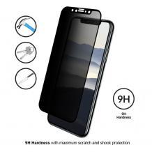 Privacy 3D full cover Tempered glass screen protector Apple iPhone XR / Privacy Извит стъклен скрийн протектор Apple iPhone XR - черен / прозрачен