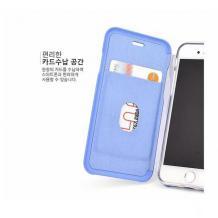 Луксозен кожен калъф Flip тефтер със стойка OPEN за Apple iPhone 7 / iPhone 8 - бял / гланц