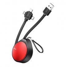 Оригинален USB кабел Baseus 1.5M 3in1 Micro USB / iPhone USB Data Cable / Type-C - тип ролетка / червено с черно