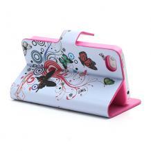 Кожен калъф Flip тефтер със стойка за Apple iPhone 4 / iPhone 4S - бял с цветя и пеперуди