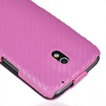 Кожен калъф тип Flip за Samsung i9250 Galaxy Nexus - Carbon Style розов