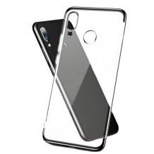 Луксозен силиконов калъф / гръб / TPU за Xiaomi Redmi Note 7 - прозрачен / черен кант