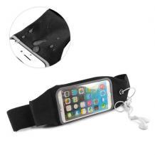 Универсален спортен калъф за кръста за смартфони с дисплей до 6.3 инча - черен