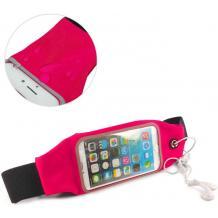 Универсален спортен калъф за кръста за смартфони с дисплей до 6.3 инча - цикламен