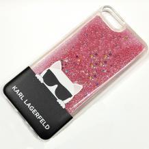 Луксозен твърд гръб 3D за Apple iPhone 7 / iPhone 8 - прозрачен / розов брокат / KARL LAGERFELD